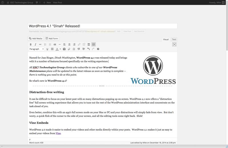 WordPress Distration Free Writing